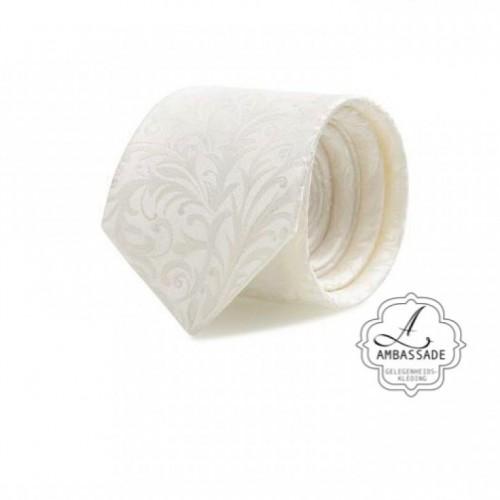 Stropdas  bewerkt met motief in off white  of ivory ivoor, voor de bruidegom om in te trouwen.