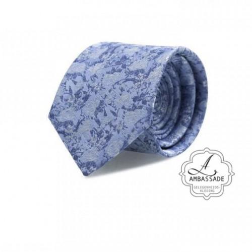 Stropdas  bewerkt met motief met blauw, voor de bruidegom om in te trouwen.