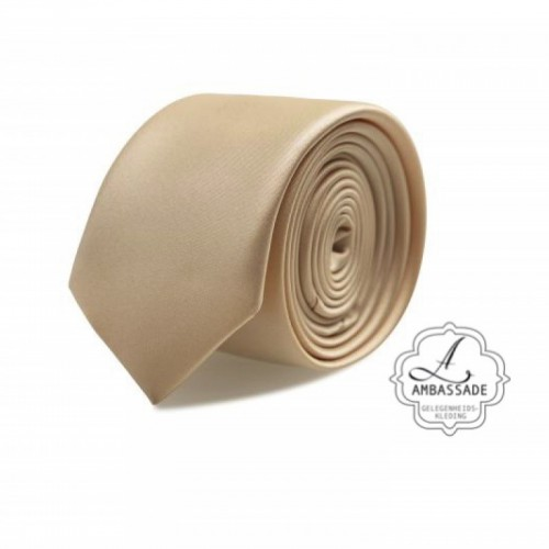 Gladde glansende effen stropdas van satijn met een pochet voor een bruidegom of voor bij een jacquet in pastel tinten. Beige