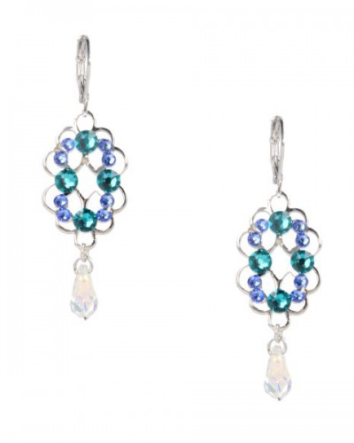 Otazu oorbellen blauw met groen en cristal