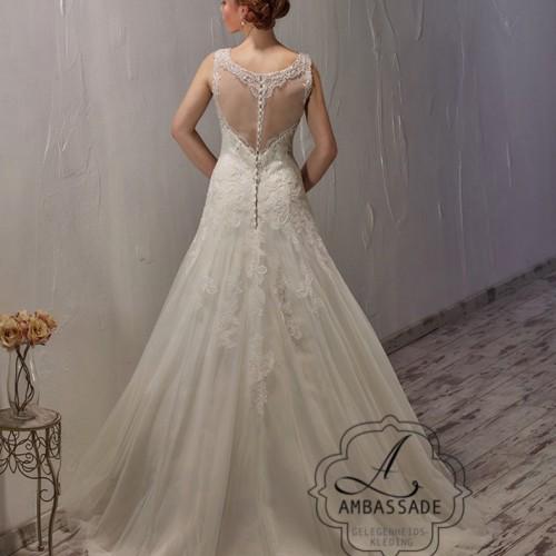 Achterkant van bruidsjurk met transparante rug met kanten details.