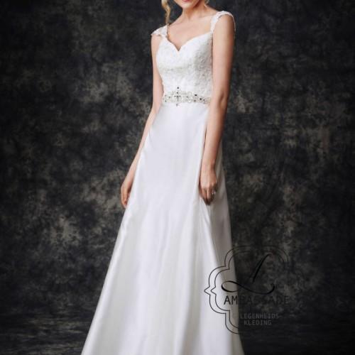 Elegante budget bruidsjurk met satijnen rok