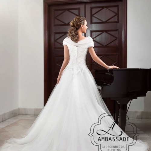 Achterkant van bruidsjurken met wijde tule rok en off sholder mouwtjes.