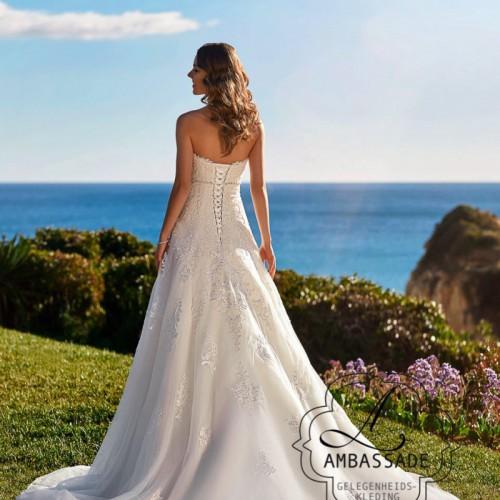 Achterkant van vrouw in wijde bruidsjurk met lange sleep.