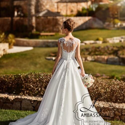 Achterkant van bruidsjurk met kant bewerkte, transparante rug met knoopjes en lange sleep.