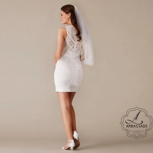 achterkant van sexy bruidsjurk