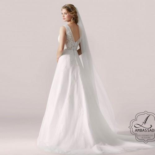 A lijn bruidsjurk met wijde, tule rok en V hals