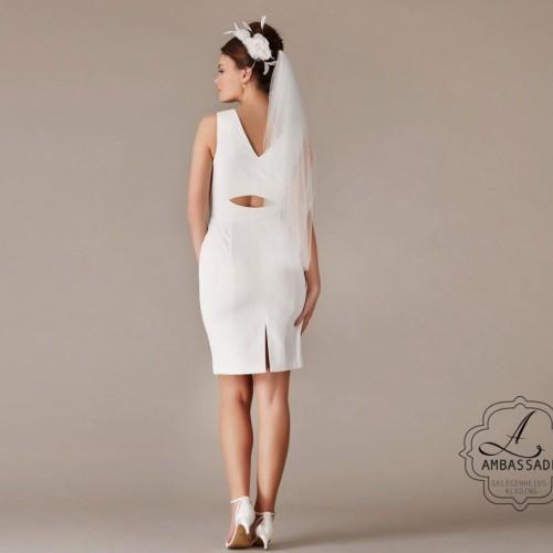 eenvoudige korte bruidsjurk met sexy rug