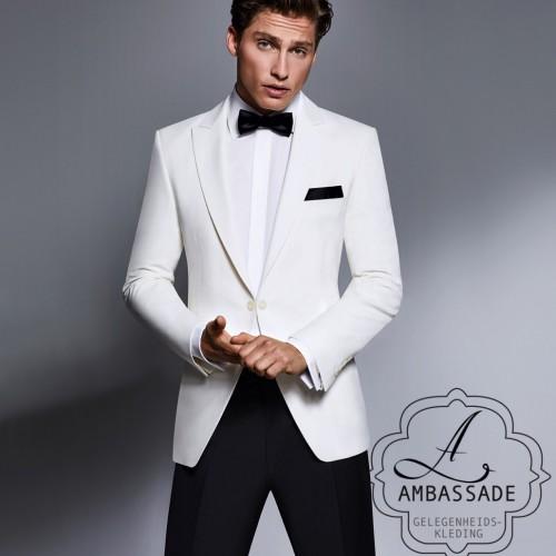 Wit of off white dinner jacket of smoking jasje van hoge kwaliteit.