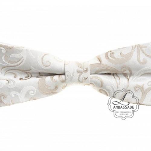 Strik/bow tie in bewerkte of effen satijn in vele kleuren. Ivory off white